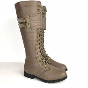 Military Style Lace Up Tall Combat Knee Boots